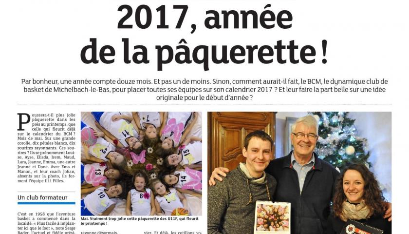 Le calendrier BCM aux honneurs dans les Dernières Nouvelle d'Alsace